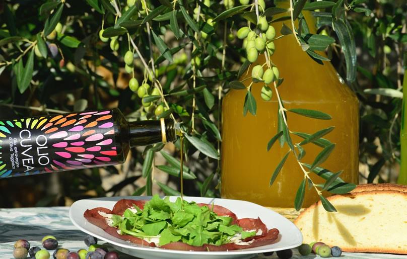 huile d'olive taggiasca bresaola avec roquette et parmesan